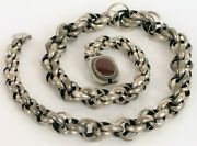 Antique Signed H Finland 813 Sterling Silver Graduated Chain Link Necklace Fine