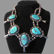 Native American Sterling Silver Turquoise Blossom Necklace Signed