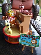 Garfield The Entertainer Musical Music Box By Enesco / All Parts Work Orig Box