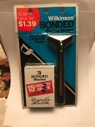 Vintage Safety Razor - Wilkinson Sword Bonded - With 3 Bonded Blades New On Card