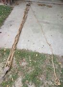 Antique Block And Tackle System Wheel Pulleys Hooks15and039 X .50andrdquo Barn Rope