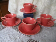 4 Early Fiesta Homer Laughlin Deco Vivid Coral Harlequin Cups And Saucers Nbu