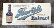 """Vtg 20s Bartels Brewing Malt Extract Sign Tin 13"""" Toc Wilkes-barre Prohibition"""
