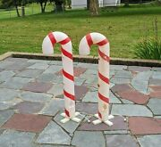 Retro 2 Christmas Candy Cane Red Stripes Plastic Blow Mold Lighted Decor