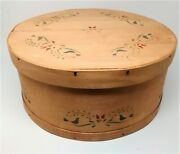 Large Vintage Country Round Banded Wood Shaker Penn Dutch Stencil Pantry Box