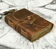 Rustic Leather Journal Notebook Handmade Deckle Edge Paper Leather Bound Books