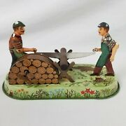 Wilesco Woodworkers Logs Metal Wind Up Toy Vtg Germany