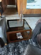 Mid Century Modern Lane Walnut Smoked Glass Modernist End Tables - A Pair