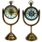 Set Of 2 Pieces Nautical Antique Table Top Hanging Desk Décor Clock Brass Stand