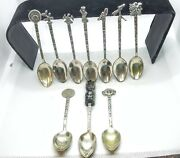 Lot Of 10 Silver Souvenir Spoons From Mexico 0.800 And 0.925. Ref2020
