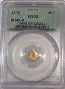 1870 Pcgs Ms-63 U.s. 25c- 1/4 Dollar Gold Coin Bg-808 Variety- See Other Gold