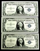 1957 B 1 Silver Certificate X 007 Spy Notes 3 Consecutive Notes Fr 1621 Cu