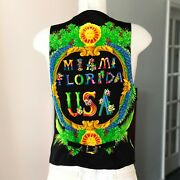 Gianni Versace Vest Miami Florida Usa Print Size It 52 From Ss 1993 Black