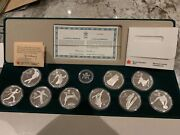 Canada 1988 Calgary Winter Olympic Proof Silver Coin Set 10 Coins W/ Box And Coa I