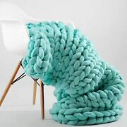 Wool Knitted Blanket Thick Yarn Merino Bulky Anti Pilling Autumn Knitting Throws