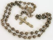 Antique Sterling Silver Rosary Cross Pendant Necklace Sphere Beads Crucifix