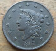 1837 Coronet Matron Head Large Cent Penny N-5 Plain Cords Small Letters Xf Dets