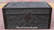 19 Chinese Wood Carving Dragon Loong Dynasty Drawer Cabinet Jewelry Box Case