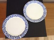 """Waechtersbach Two Extra Large12"""" Dinner Plates White W/blue Abstract Swirls"""
