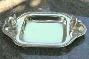 Antique Heavy Sterling Silver Tray Barbour Company Two Dog Heads Mint Heav