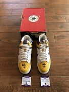Lakers Magic Johnson Signed Converse Weapon Mid Shoes Gold White Purple Beckett