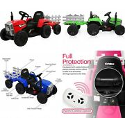 Kids Electric Tractor 12v Ride On Car Toy With Remote Control Safety, Trailer