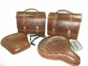 Brown Leather Saddle Bag Front Rear Seat Royal Enfield Classic C5 500cc Efi @t