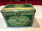 Vintage Advertising Tobacco Tin Green Turtle Lunchbox, Htf Empty Container