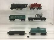 Marx 1666 Steam Engine And Freight Car Lot 6 Pieces F1