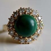 Catherine Parr 14k Gold, Malachite And Diamond Ring Museum Of Jewelry