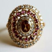 Morgan Le Fay 14k Gold, Citrine, Garnet And Diamond Ring Museum Of Jewelry