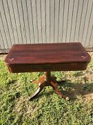 19 Th C. Elegant English Rosewood Game Table On Metal Claw Feet Leather Top