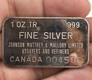 Johnson Matthey And Mallory 1 Oz .999 Silver Art Bar - Extremely Rare