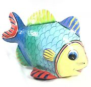Paper Mache Painted Fish Decoration Large Bright Colorful 14 Inch 6291