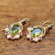 Sotherby 14k Gold, Peridot, Garnet And Pearl Earrings Museum Of Jewelry