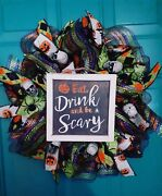 Eat, Drink And Be Scary Halloween Wreath With Colorful Mesh And Skulls