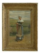 F50265ec Antique Framed Oil Painting On Board Woman Knitting