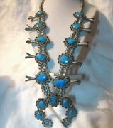 Native American Turquoise Silver Squash Blossom Necklace Signed