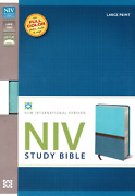 Niv Study Bible, Large Print, Leathersoft, Teal, Red Letter Edition Brand New
