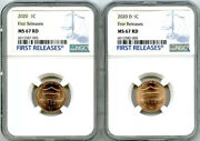 2020 P And D Cent Ngc Ms67 Shield Matching 2 Coin Lincoln Label Set First Releases