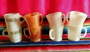 Lot Of 8 Fire King Coffee Mugs Anchor Hocking 4 White 2 Lustre 2 Meadow Green