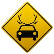 Mary Carothers Signed Untitled Traffic Highway Road Sign 1997 Car With Antlers
