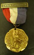 Amateur Athletic Union Sterling Championship Medal W/ribbon Aau Gold Plated 1961