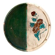 Antique Japanese Seto Green And White Ceramic Oil Plate