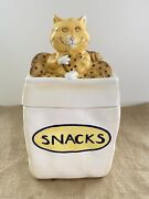 Cat Kitty Treat Ceramic Cookie/canister Jar Holiday Bake Goods Rubber Seal