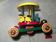 Vintage Sweden Brio Wood Carousel Merry-go-round Childand039s Pull Toy With Bell