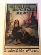 """Ww1 Orginal 102yrs Old Poster """"fatherless Children Of France"""""""