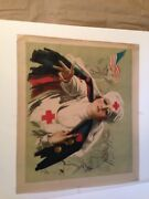 Ww1 Orginal 102yrs Old Poster Andldquored Cross Lady And American Flagandrdquo 1918