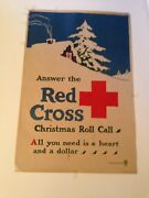 """Ww1 Orginal 102yrs Old Poster """"answer The Red Cross Christmas Roll Call """" 1918"""