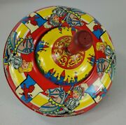 Rare Antique Bryan Ohio Art Co Spinning Tin Toy Top Made In Usa 1950s